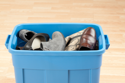 shoes in bin