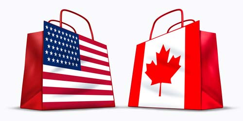 U.S.A. and Canada trade symbol represented by two red shopping bags with the American and Canadian flag with stars and stripes and the maple leaf symbol showing