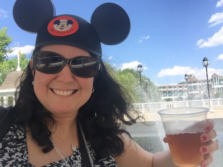 Enjoying an iced tea somewhere between Disney's Beach Club & Yacht Club Resorts