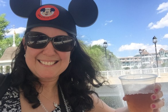 Enjoying an iced tea somewhere between Disney's Beach Club & Yacht Club Resorts