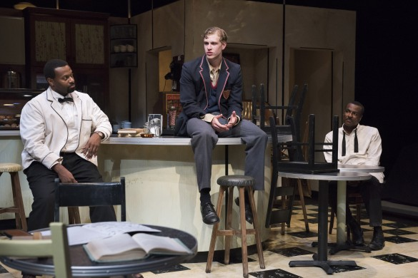 "André Sills as Sam, James Daly as Hally and Allan Louis as Willie in ""Master Harold"" …and the Boys. Photo by David Cooper."