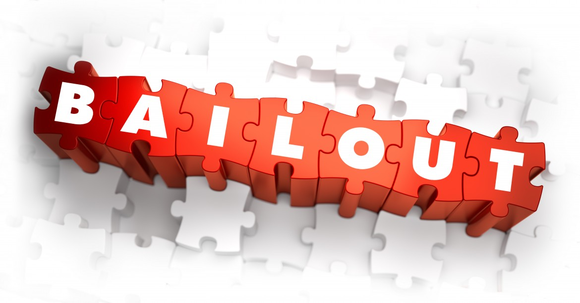 Bailout - White Word on Red Puzzles on White Background. 3D Illustration.
